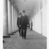 President Coolidge in West Wing Colonnade