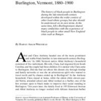African Americans in Burlington, Vermont, 1880-1990