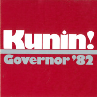 Kunin sticker, Governor, 1982