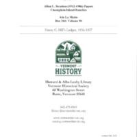 Isle La Motte: Henry C. Hill's Ledger, 1856-1857