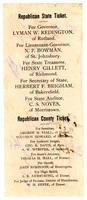 Misprinted Republican Ticket, 1884