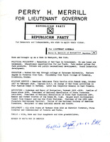 Perry H. Merrill for Lieutenant Governor Flyer, 1966