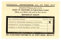 Allen M. Fletcher for United States Senator Leaflet, 1916