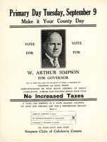W. Arthur Simpson for Governor Flyer, 1930