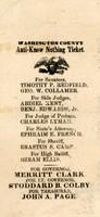 Washington County Anti-Know Nothing Ticket, 1855