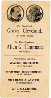 Democratic Ticket for Vermont Electors of the President and Vice President, Grover Cleveland and Allen G. Thurman, 1888